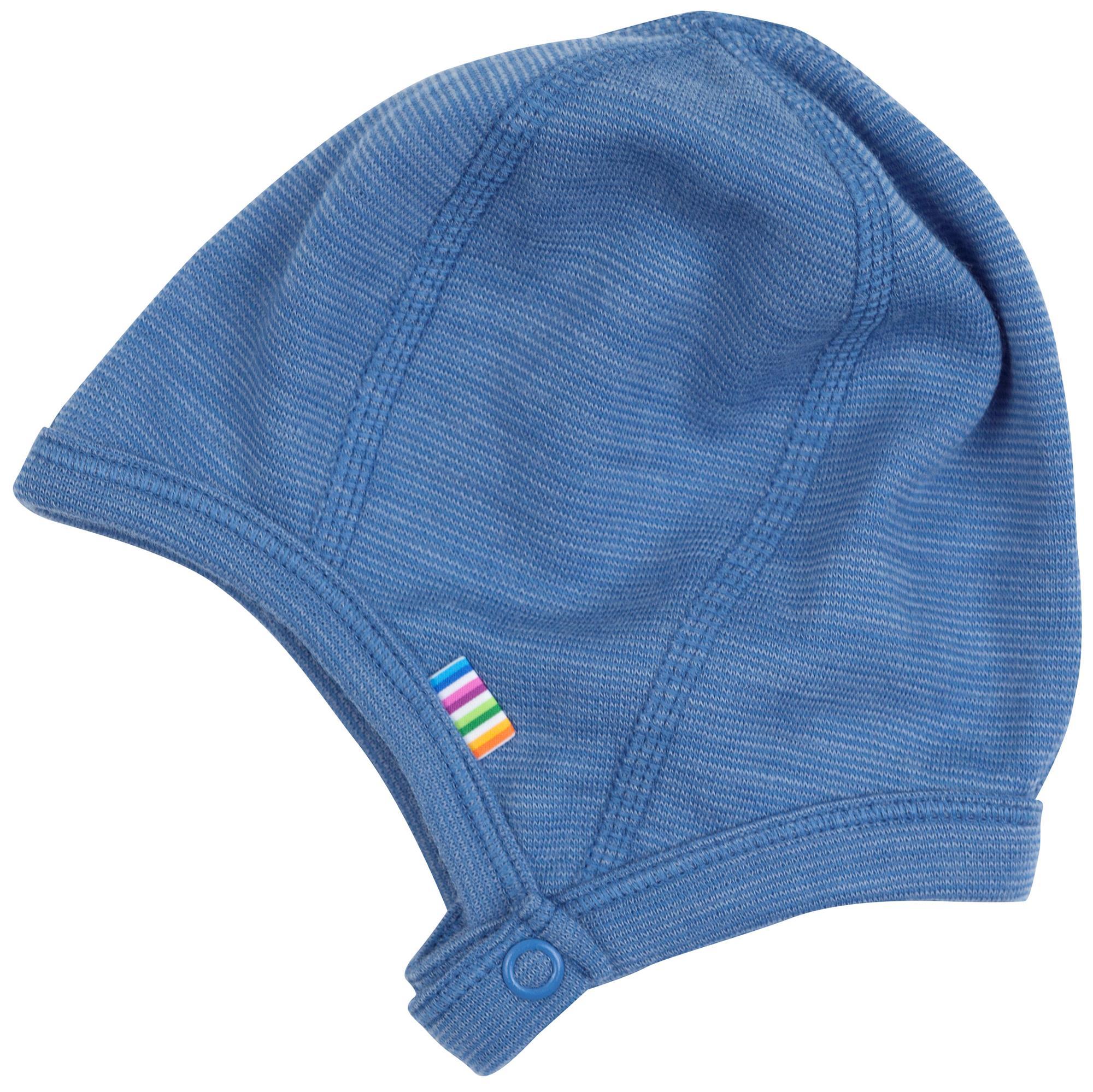 07c73241cb5 JOHA hue uld blå meleret med trykknap, 34 cm (præmatur), 37 cm, 41 cm, 45 cm